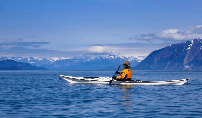 Kayaker in Glacier Bay National Park, Alaska