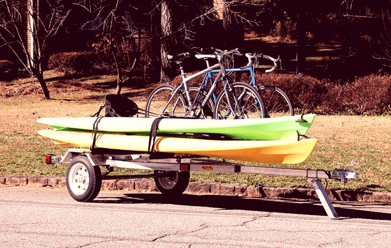 right on trailer with kayaks loaded