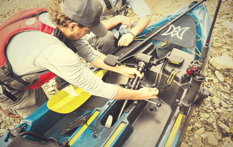 fisherman getting ready for kayaking
