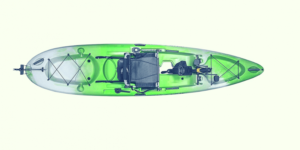 pedal kayak as seen from top